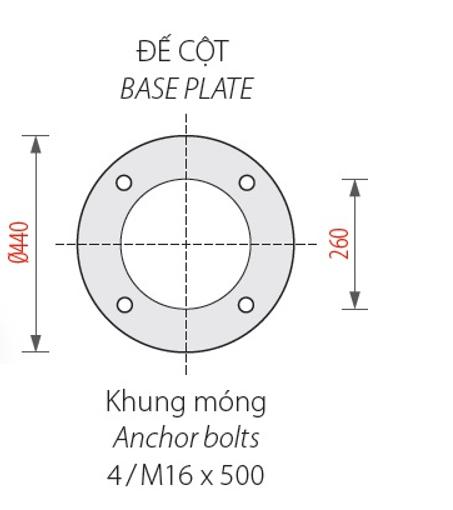 Bản vẽ đế cột đèn sân vườn DC07