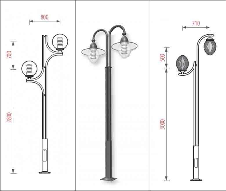 Mẫu thiết kế cột đèn thép mạ