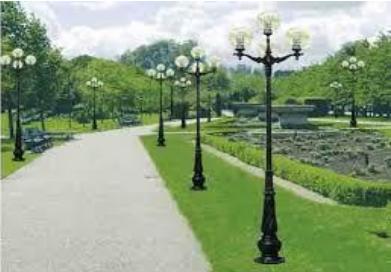 Cột đèn DC02 được sử dụng trong công viên